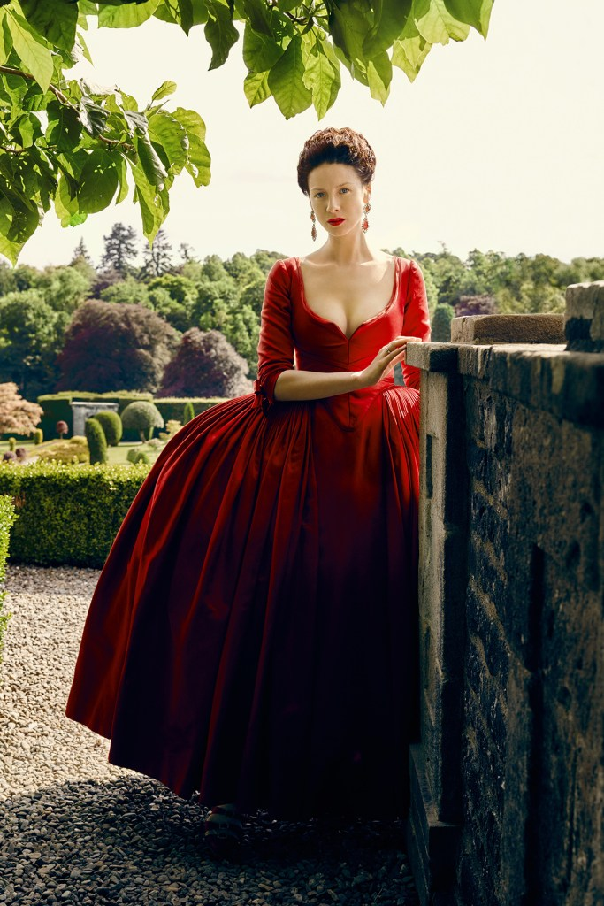 Mum also showed off her cleavage to the French court. But that's a story for another day. (Caitriona Balfe as Claire Fraser in her cleavage-revealing red dress.)