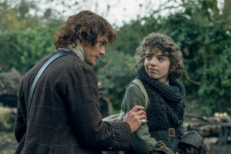 Jamie, no! Can't you see this child must be protected at all costs? (On right, Romann Berux as Fergus.)