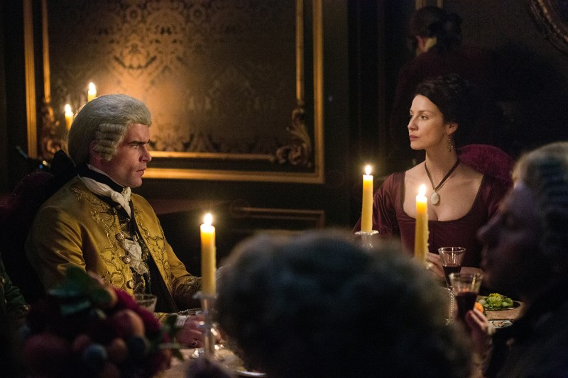 You can practically feel the electricity crackling. (Left, Stanley Weber as Comte St. Germain. Right, Claire my Queen)