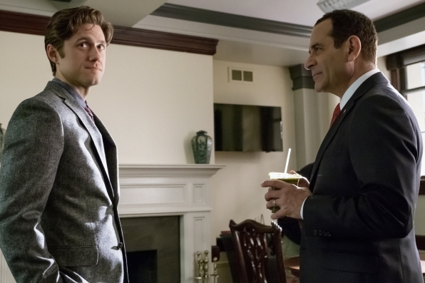 Gareth consults with a refreshed Senator Wheatus.