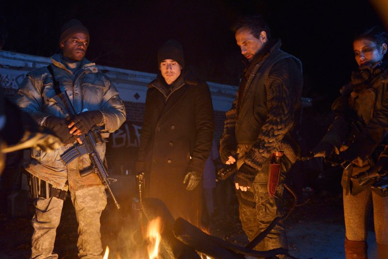 "12 MONKEYS -- ""Blood Washed Away"" Episode 212 -- Pictured: (l-r) Demore Barnes as Whitley, Kirk Acevedo as Jose Ramse, Todd Stashwick as Deacon, -- (Photo by: Ben Mark Holzberg/Syfy)"