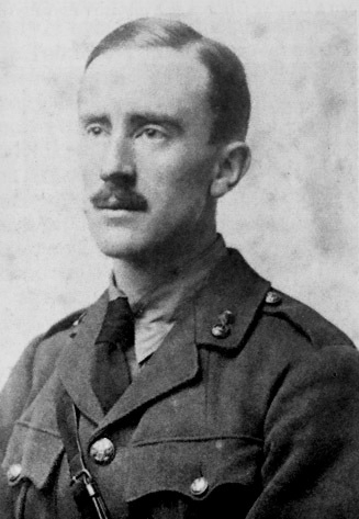 "JRR Tolkien in 1916. This man wrote about eleves singing to the stars and hobbits smoking ""pipe weed"". He would probably approve of you drinking half a bottle of wine and coloring pictures of dwarves. [Courtesy Wikimedia Commons]"