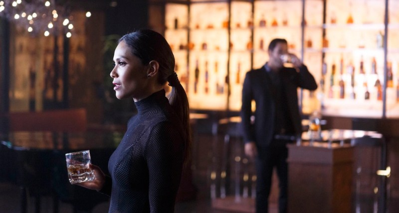 "LUCIFER: L-R: Lesley-Ann Brandt and Tom Ellis in ""Everything's Coming Up Lucifer"" season premiere episode of LUCIFER airing Monday, Sept. 19 (9:01-10:00 PM ET/PT) on FOX ©2016 Fox Broadcasting Co. Cr: Michael Courtney/FOX."