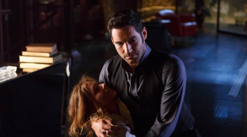 "LUCIFER: L-R: Tricia Helfer and Tom Ellis in ""Everything's Coming Up Lucifer"" season premiere episode of LUCIFER airing Monday, Sept. 19 (9:01-10:00 PM ET/PT) on FOX  ©2016 Fox Broadcasting Co. Cr: Michael Courtney/FOX."