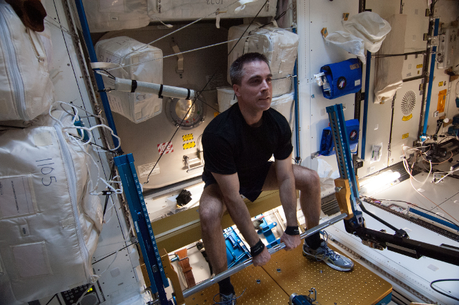 A clean and jerk just seems a bit less sporting in zero gravity. (NASA)