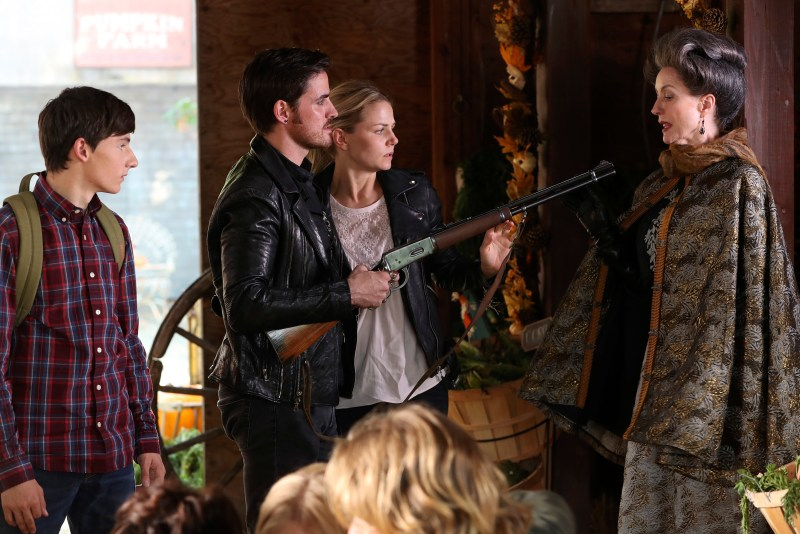Watch where you point that thing! No, really. Use the sights. (ABC/Jack Rowand) JARED GILMORE, COLIN O'DONOGHUE, JENNIFER MORRISON, LISA BANES