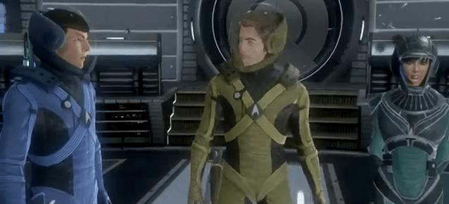 Star Trek Video Game - Spock, kirk and female crewmember
