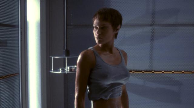 Commander T'pol (Jolene Blalock) in a very tight t-shirt - Enterprise Broken Bow Star Trek Enterprise Season 1 Blu-ray Review