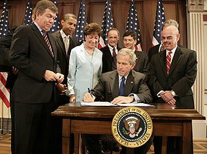 President Bush signing the Federal Funding Acc...