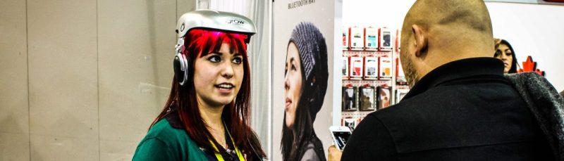 Citoyen du Monde Inc redhead girl explains wearable technology ces 2015