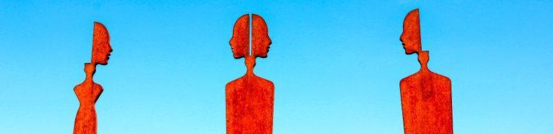 Art Orange Sky Blue Personas Symbol Faces Shapes Rusty Metal Structure Crop