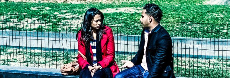 Couple Pair People Argument Arguing Talking Sad Angry Irritated Man Woman Looking Conversation Outside