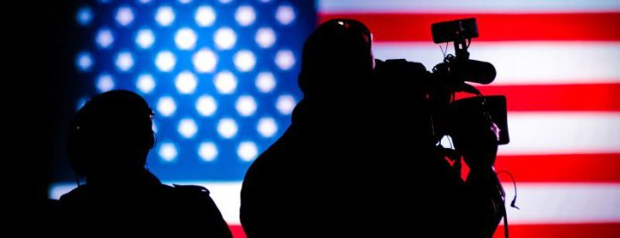 media-tv-camera-team-us-elections-news-coverage-media-report-filming-american-flag-background-stars-stripes