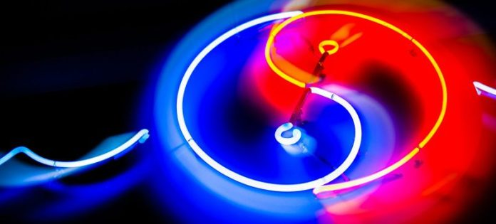 Ying Yan Balance Red Blue LED Light Pipe Art Installation Fair Business Transparent Efficient Communication Sales Marketing