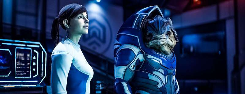 Mass Effect Andromeda Review Screenshot Inside No Armor Races Smiling Animations Expressions Krogan