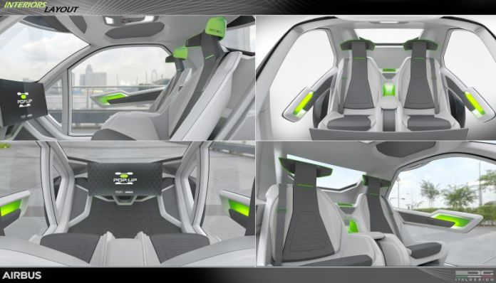 Airbus popup flying pod self driving car interiors layout