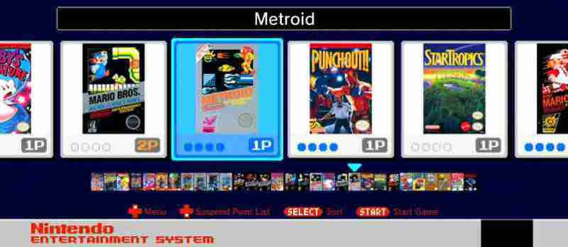NES Classic Games Screenshot Metroid Selection Screen Example