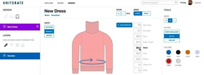Kniterate_software1 screenshot example online fashion design sharing