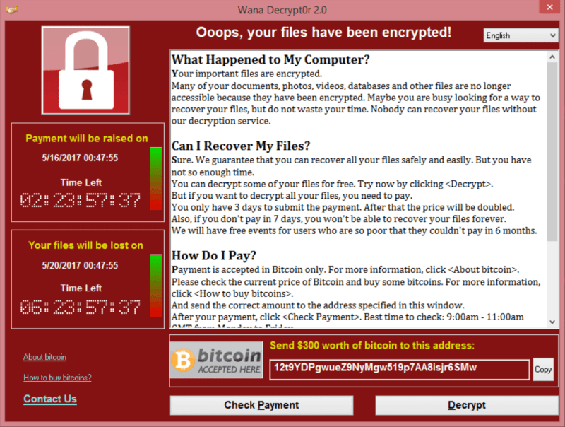 WannaCry Screenshot Ransomware Bitcoin Example WannaCrypt Wana Decrypt0r 2