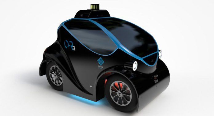 OTSAW Robotics O-R3 Outside Security Car Drone Ground Air Hybrid Police Vehicle Self Driving Autonomous AI Machine Learning Fleet Side View Design