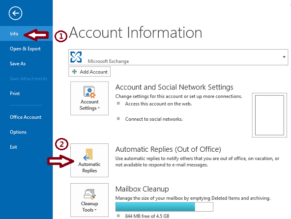 How to out of office message notification microsoft outlook exchange setup enable screenshot tutorial