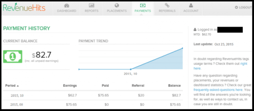 RevenueHits balance
