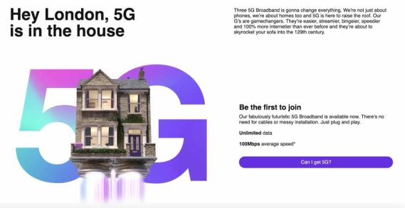 Three 5G broadband in London