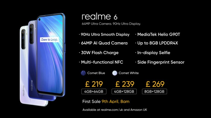 Realme 6 available in the UK from 9th April from £219 6