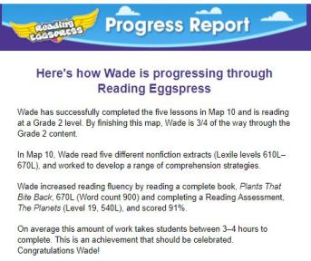 Reading Eggs Progress Report, Details about learning progress and achievement.