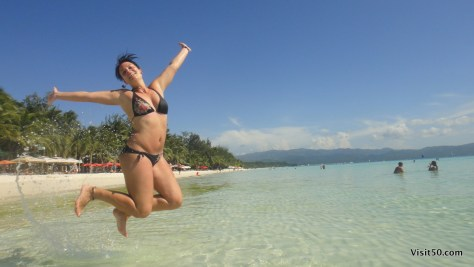 Sarah's jumping photo in Boracay Philippines