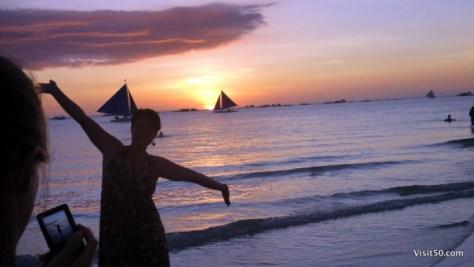 Sunset Silhouettes - Boracay Beach Kodak Moment, Philippines