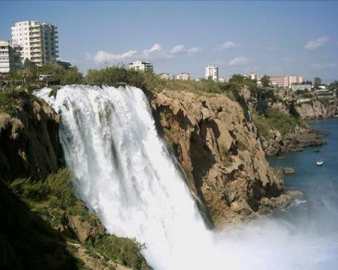 Impressive Duden waterfall in Antalya, Turkey