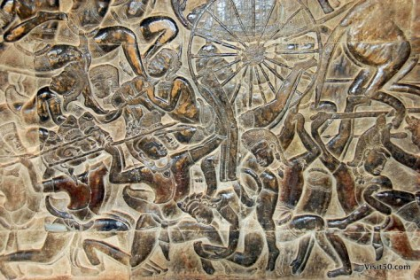 The Battle of Kurukshetra is the subject of this bas-relief at Angkor Wat.