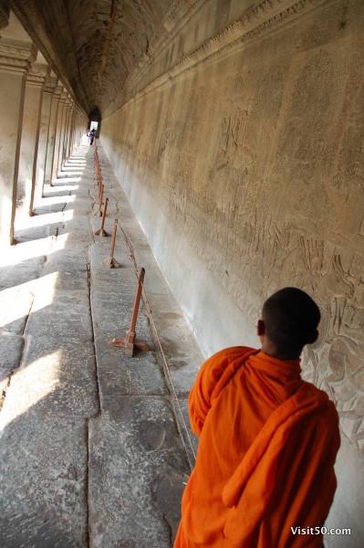 a monk at - Angkor Wat - Visit50.com