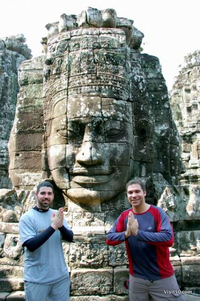 Bayon temples in the Angkor Thom area of Siem Reap, Cambodia near Angkor Wat