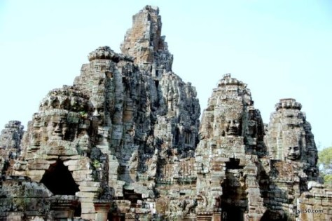 Central structure tower of Bayon, in Angkor Thom, Siem Reap, Cambodia