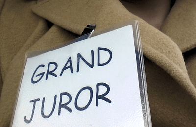 Grand Juror Badge - Yes, we do it classy with Comic Sans in my county.