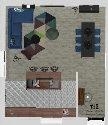 Agencement et décoration d'une cuisine ouverte / salon-salle à manger