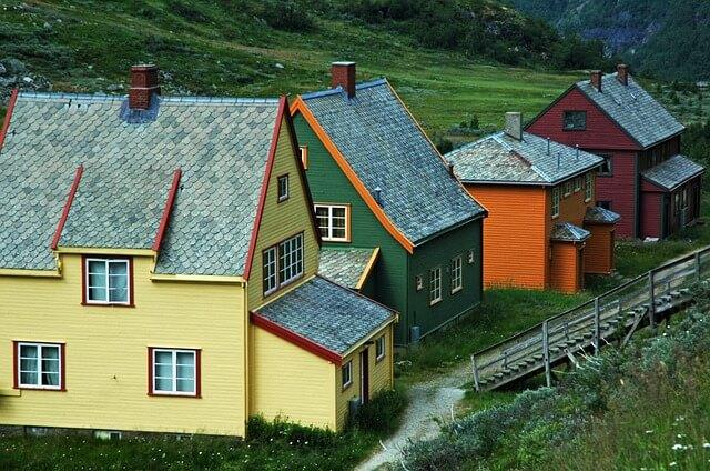 Typische Haeuser in Norwegen