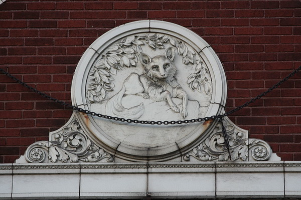 terracotta fox medallion, old Fox Theater building, Aurora, Illinois