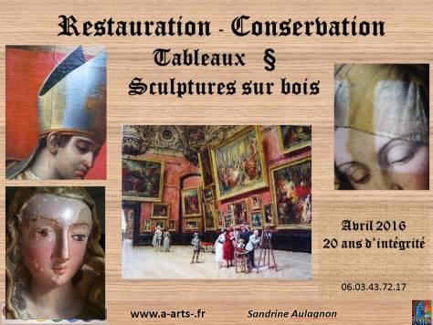 Restauration Conservation de tableaux et sculptures polychromes sur bois, depuis 20 ans.