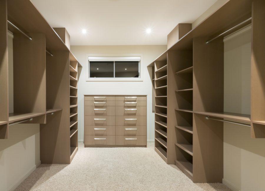 Big empty walk in wardrobe in luxurious house