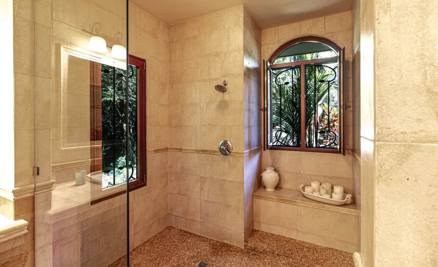 tile walk-in shower