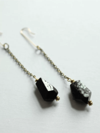 Black Dangle Earrings with Tourmaline | A Common Thread