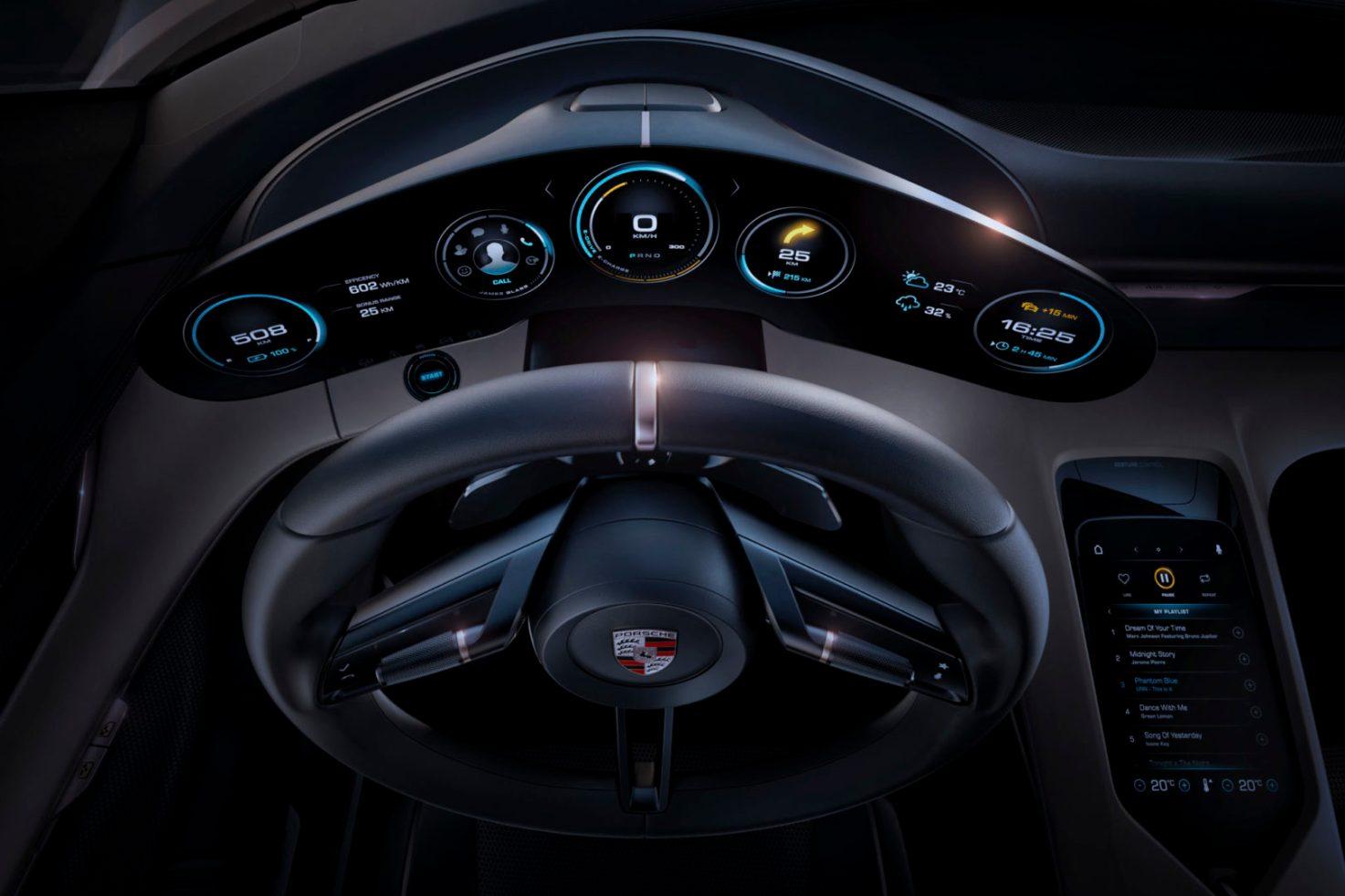 Porsche Mission E dials, like the 911