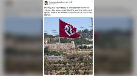 Необычно огромный нацистский флаг, который развевают палестинцы, заставляет скептиков кричать: «Фотошоп» (это не так)