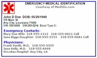 Print Emergency Medical ID provided by www.medicalinfoproducts.com