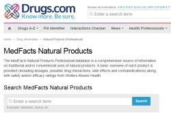 Drugs.com MedFacts Natural Products menu