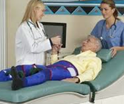 EECP therapy session: patient with compression cuffs on lower limbs at A-Fib.com