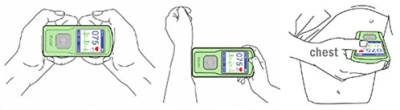 Illustration: Three ways to hold the Contec PM-10 when taking an ECG scan at A-Fib.com